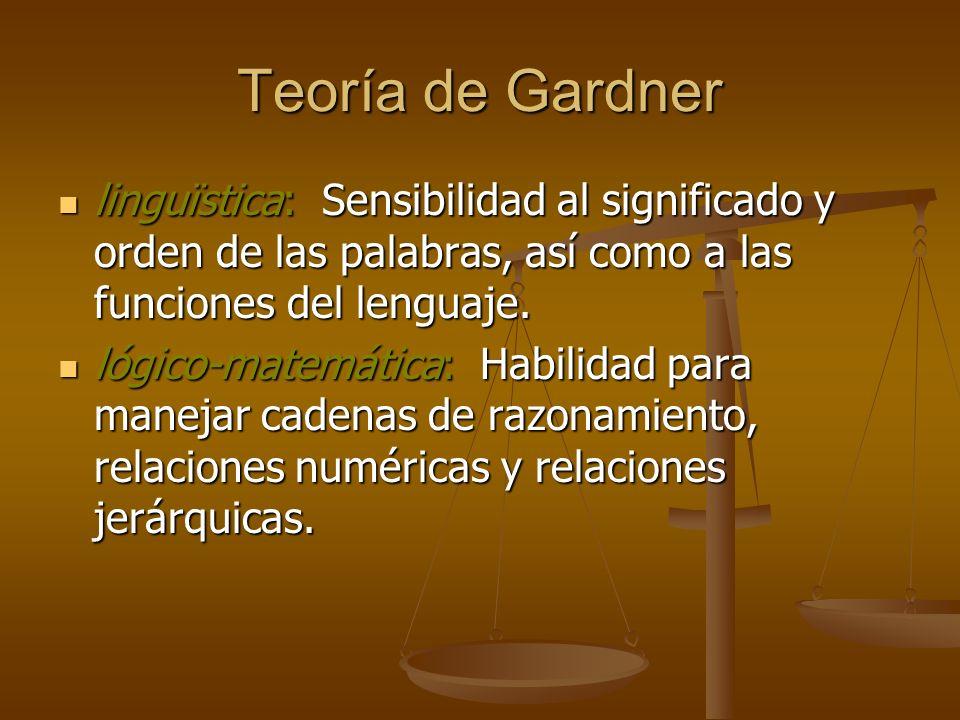 Teoría de Gardnerlinguïstica: Sensibilidad al significado y orden de las palabras, así como a las funciones del lenguaje.