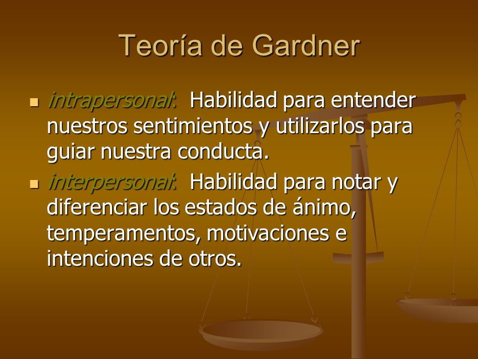 Teoría de Gardnerintrapersonal: Habilidad para entender nuestros sentimientos y utilizarlos para guiar nuestra conducta.