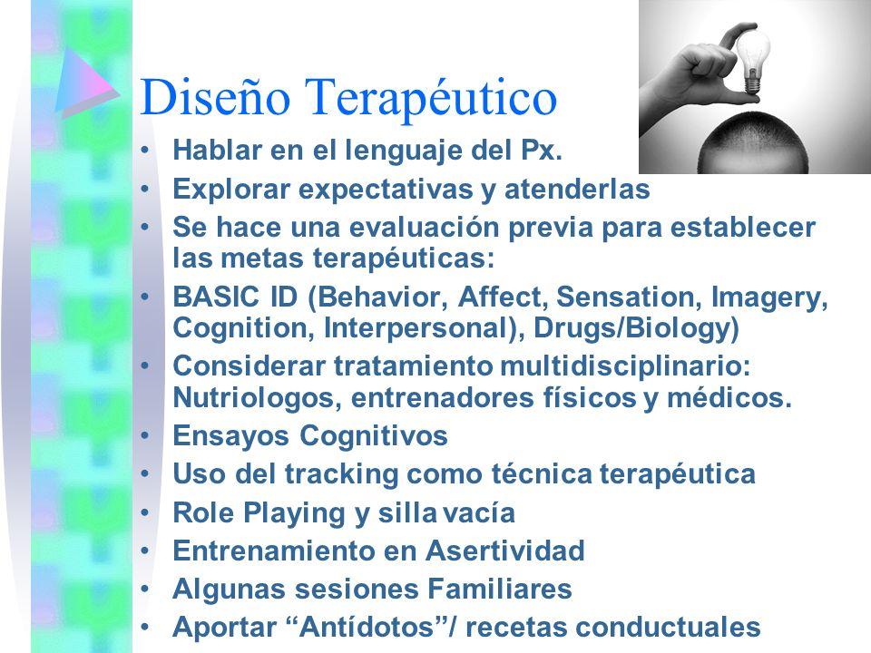 Diseño Terapéutico Hablar en el lenguaje del Px.