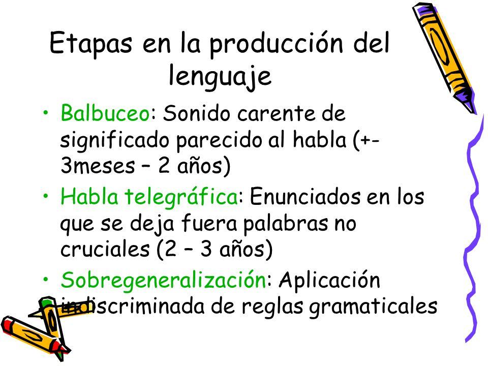 Etapas en la producción del lenguaje