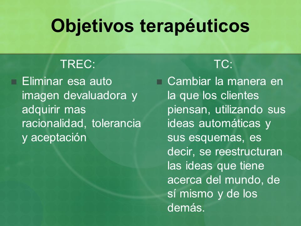Objetivos terapéuticos