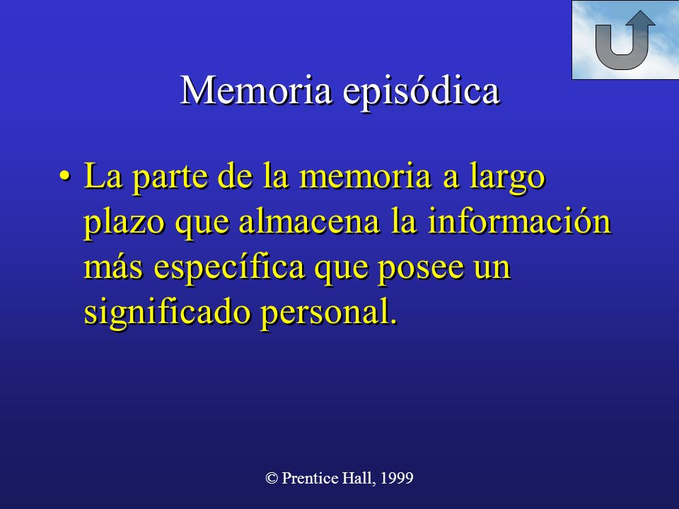 Memoria episódica La parte de la memoria a largo plazo que almacena la información más específica que posee un significado personal.