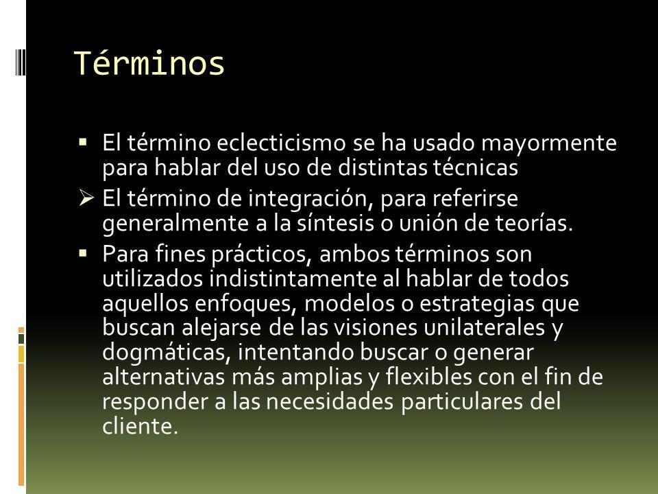 Términos El término eclecticismo se ha usado mayormente para hablar del uso de distintas técnicas.