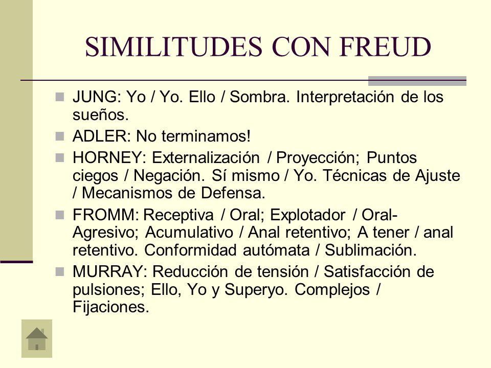 SIMILITUDES CON FREUDJUNG: Yo / Yo. Ello / Sombra. Interpretación de los sueños. ADLER: No terminamos!