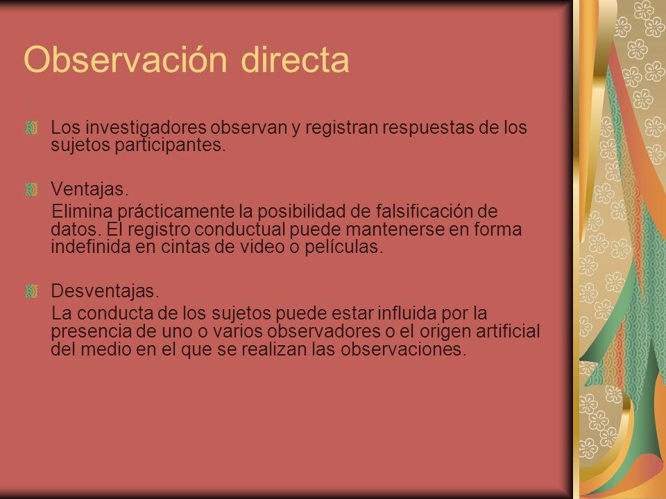 Observación directa Los investigadores observan y registran respuestas de los sujetos participantes.
