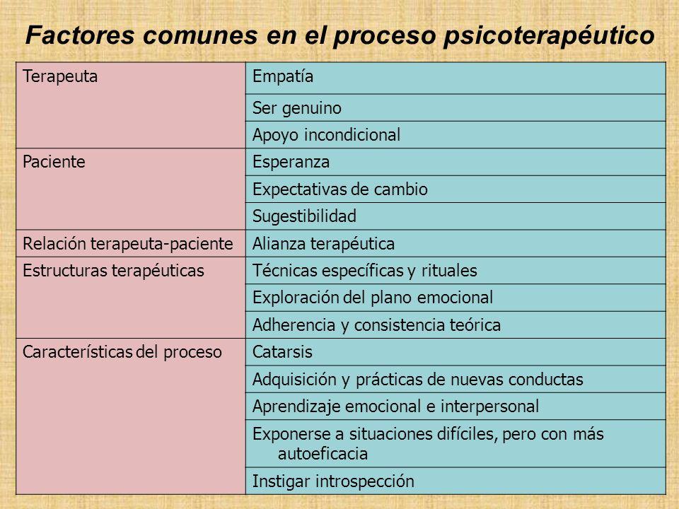 Factores comunes en el proceso psicoterapéutico