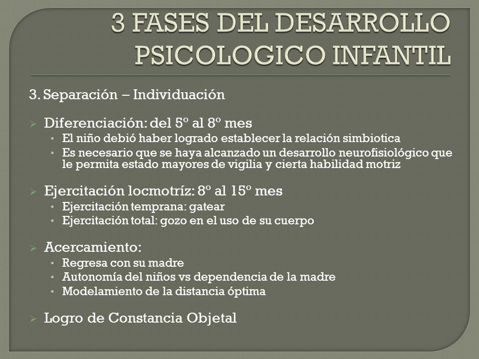3 FASES DEL DESARROLLO PSICOLOGICO INFANTIL