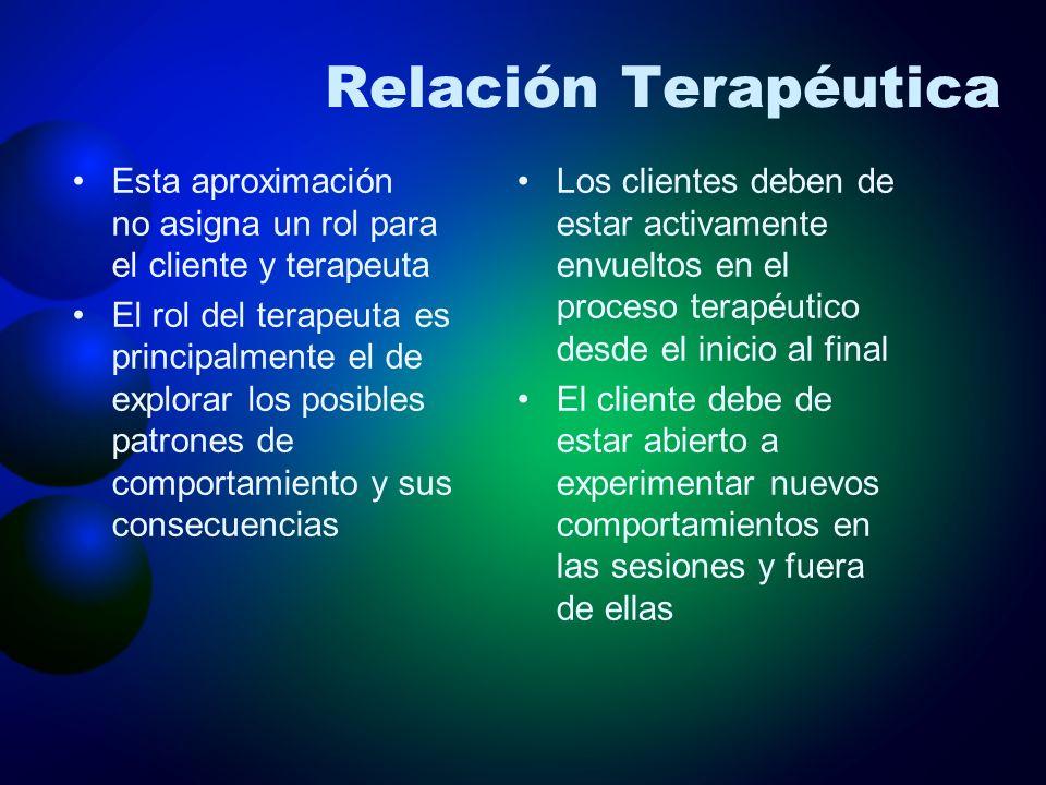 Relación Terapéutica Esta aproximación no asigna un rol para el cliente y terapeuta.