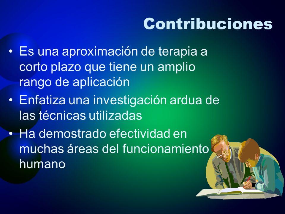 Contribuciones Es una aproximación de terapia a corto plazo que tiene un amplio rango de aplicación.