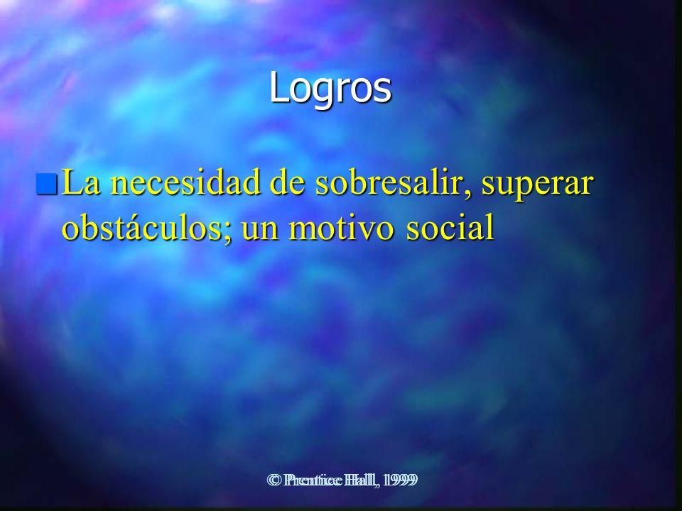 Logros La necesidad de sobresalir, superar obstáculos; un motivo social.