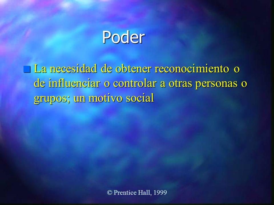 Poder La necesidad de obtener reconocimiento o de influenciar o controlar a otras personas o grupos; un motivo social.