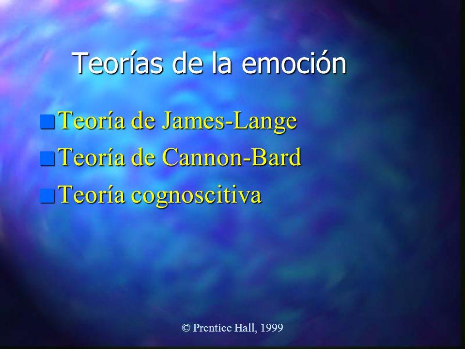 Teorías de la emoción Teoría de James-Lange Teoría de Cannon-Bard
