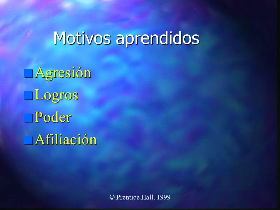 Motivos aprendidos Agresión Logros Poder Afiliación