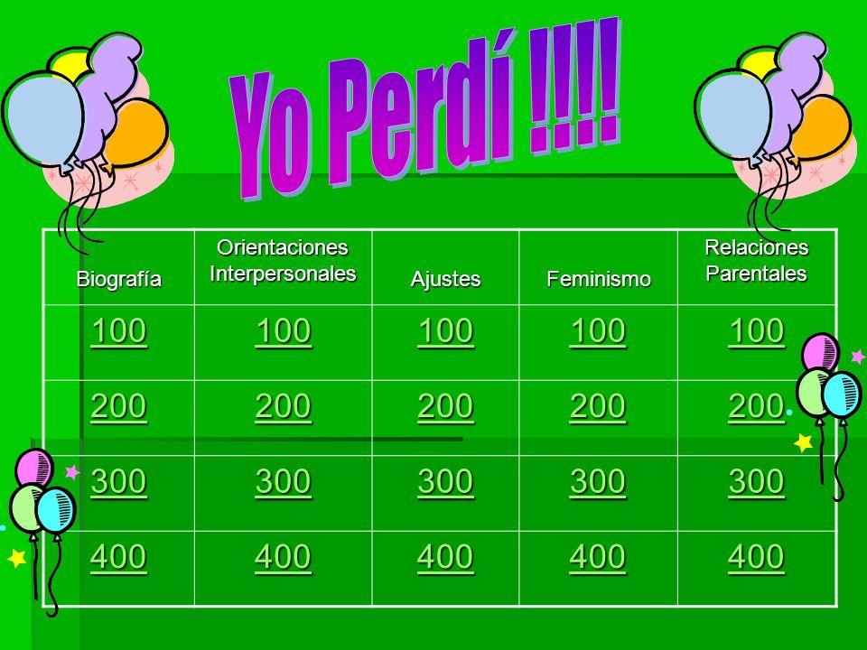 Yo Perdí !!!! 100 200 300 400 Biografía Orientaciones Interpersonales