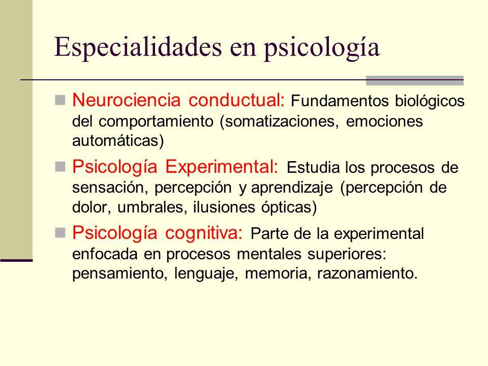 Especialidades en psicología