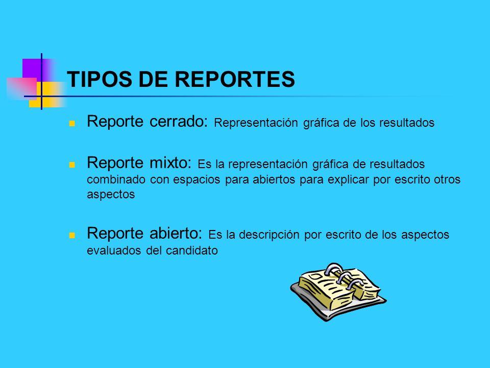 TIPOS DE REPORTES Reporte cerrado: Representación gráfica de los resultados.