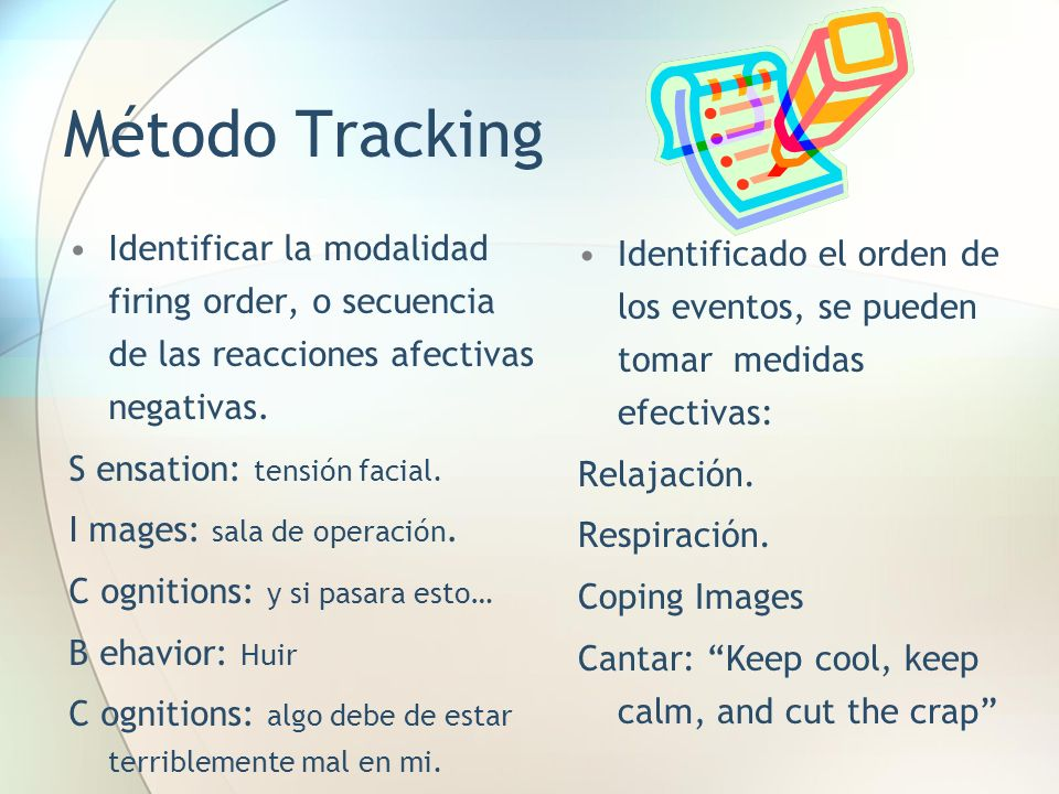 Método Tracking Identificar la modalidad firing order, o secuencia de las reacciones afectivas negativas.