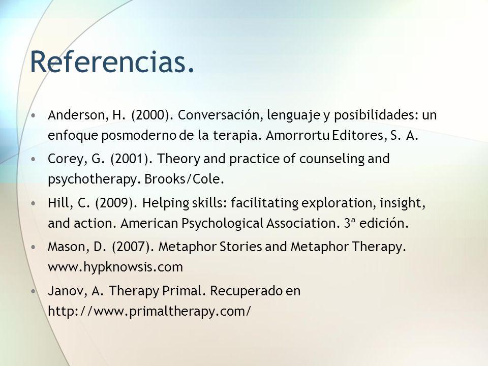 Referencias.Anderson, H. (2000). Conversación, lenguaje y posibilidades: un enfoque posmoderno de la terapia. Amorrortu Editores, S. A.