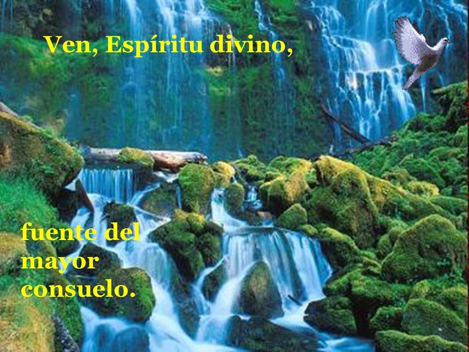 Ven, Espíritu divino,manda tu luz desde el cielo. Padre amoroso del pobre; don, en tus dones espléndido;
