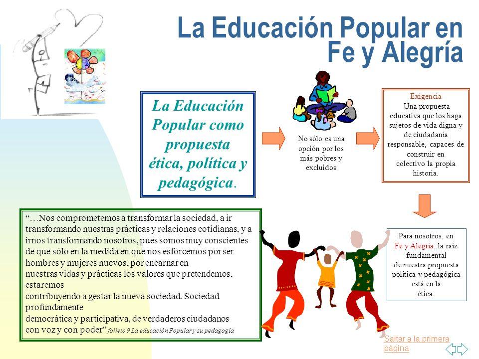 La Educación Popular en Fe y Alegría