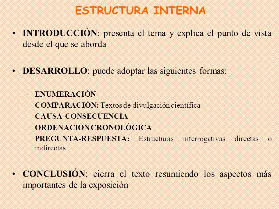 ESTRUCTURA INTERNA INTRODUCCIÓN: presenta el tema y explica el punto de vista desde el que se aborda.
