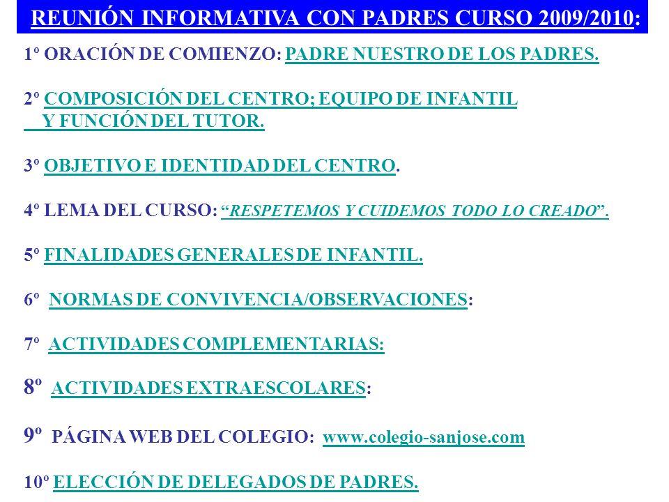 REUNIÓN INFORMATIVA CON PADRES CURSO 2009/2010: