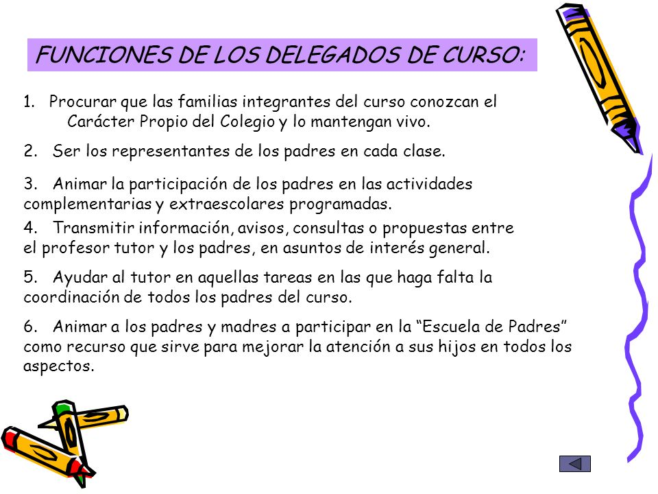 FUNCIONES DE LOS DELEGADOS DE CURSO: