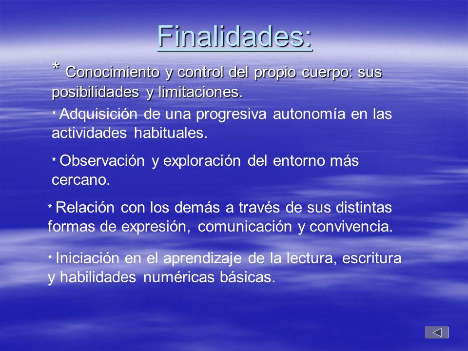 Finalidades: * Conocimiento y control del propio cuerpo: sus posibilidades y limitaciones.