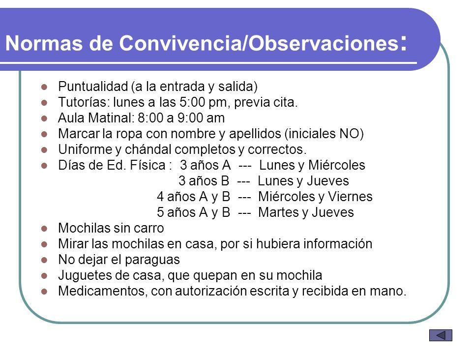 Normas de Convivencia/Observaciones: