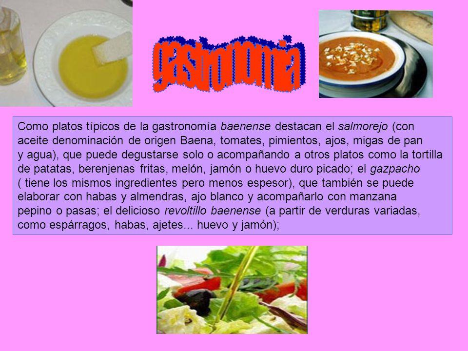 gastronomiaComo platos típicos de la gastronomía baenense destacan el salmorejo (con.