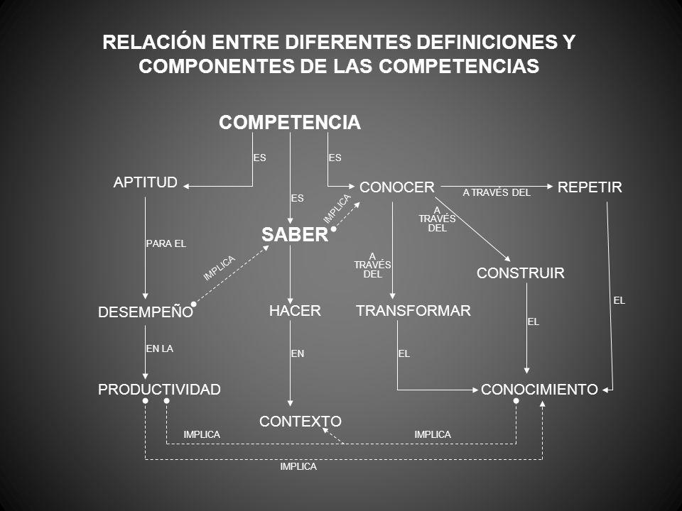 RELACIÓN ENTRE DIFERENTES DEFINICIONES Y COMPONENTES DE LAS COMPETENCIAS