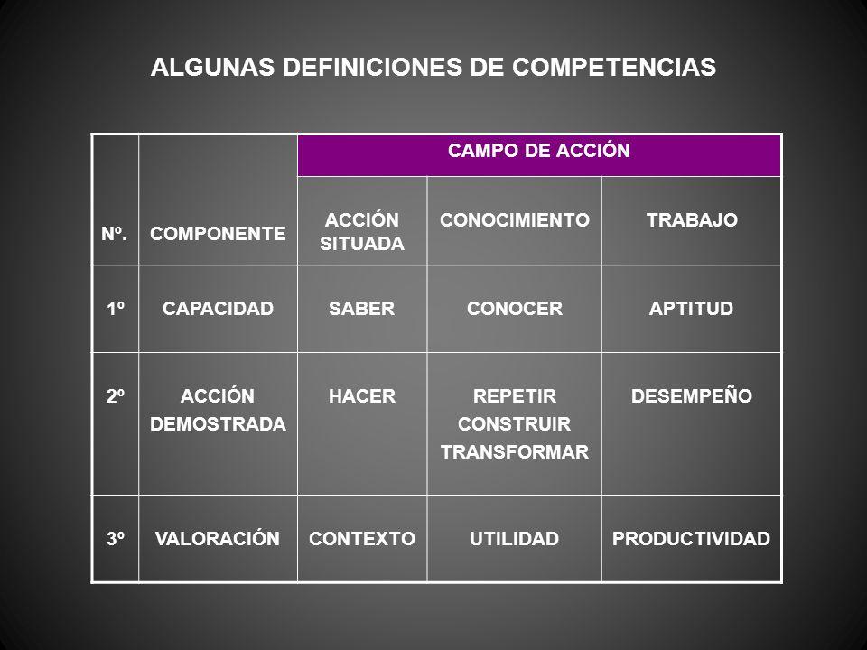 ALGUNAS DEFINICIONES DE COMPETENCIAS