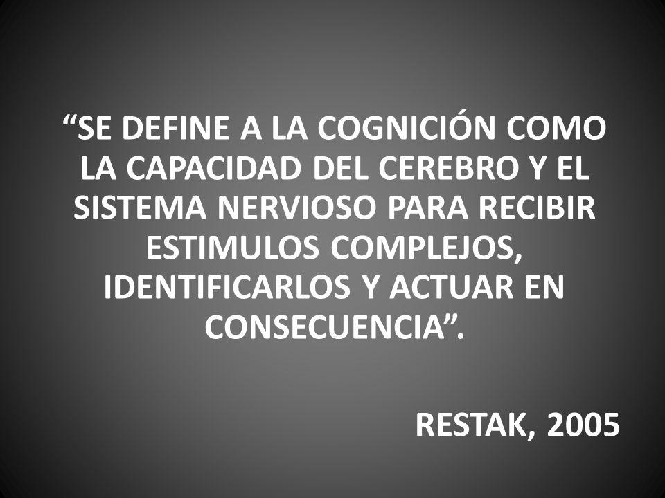 SE DEFINE A LA COGNICIÓN COMO LA CAPACIDAD DEL CEREBRO Y EL SISTEMA NERVIOSO PARA RECIBIR ESTIMULOS COMPLEJOS, IDENTIFICARLOS Y ACTUAR EN CONSECUENCIA .