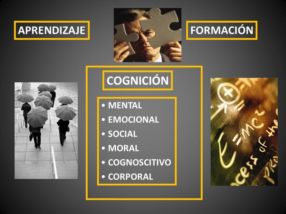 COGNICIÓN APRENDIZAJE FORMACIÓN MENTAL EMOCIONAL SOCIAL MORAL