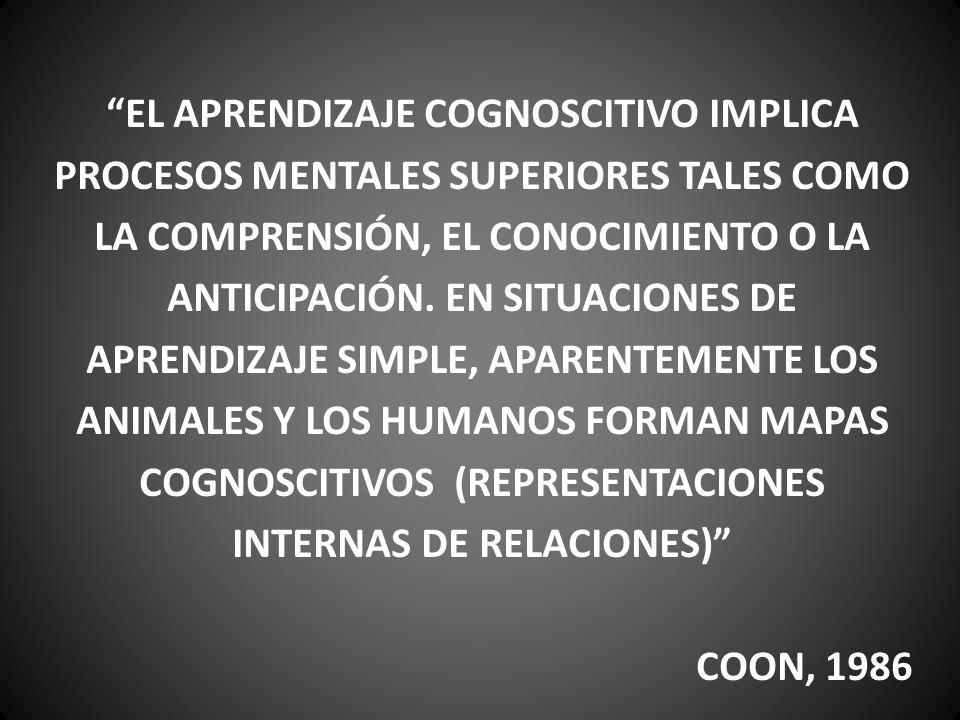 EL APRENDIZAJE COGNOSCITIVO IMPLICA PROCESOS MENTALES SUPERIORES TALES COMO LA COMPRENSIÓN, EL CONOCIMIENTO O LA ANTICIPACIÓN. EN SITUACIONES DE APRENDIZAJE SIMPLE, APARENTEMENTE LOS ANIMALES Y LOS HUMANOS FORMAN MAPAS COGNOSCITIVOS (REPRESENTACIONES INTERNAS DE RELACIONES)