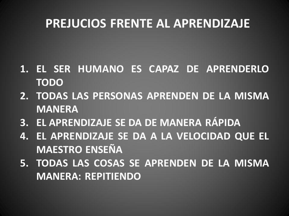 PREJUCIOS FRENTE AL APRENDIZAJE