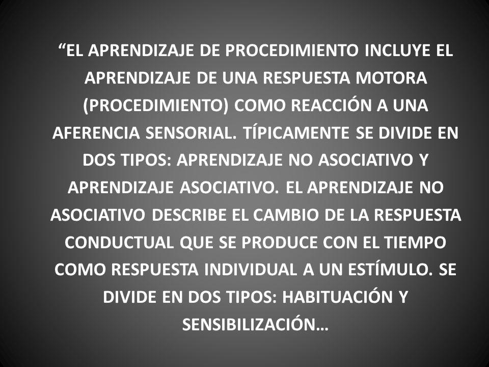 EL APRENDIZAJE DE PROCEDIMIENTO INCLUYE EL APRENDIZAJE DE UNA RESPUESTA MOTORA (PROCEDIMIENTO) COMO REACCIÓN A UNA AFERENCIA SENSORIAL.