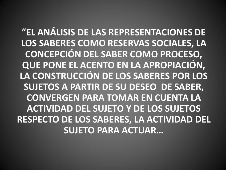 EL ANÁLISIS DE LAS REPRESENTACIONES DE LOS SABERES COMO RESERVAS SOCIALES, LA CONCEPCIÓN DEL SABER COMO PROCESO, QUE PONE EL ACENTO EN LA APROPIACIÓN, LA CONSTRUCCIÓN DE LOS SABERES POR LOS SUJETOS A PARTIR DE SU DESEO DE SABER, CONVERGEN PARA TOMAR EN CUENTA LA ACTIVIDAD DEL SUJETO Y DE LOS SUJETOS RESPECTO DE LOS SABERES, LA ACTIVIDAD DEL SUJETO PARA ACTUAR…