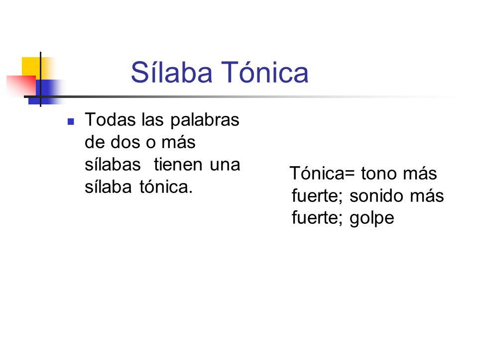 Sílaba Tónica Todas las palabras de dos o más sílabas tienen una sílaba tónica.