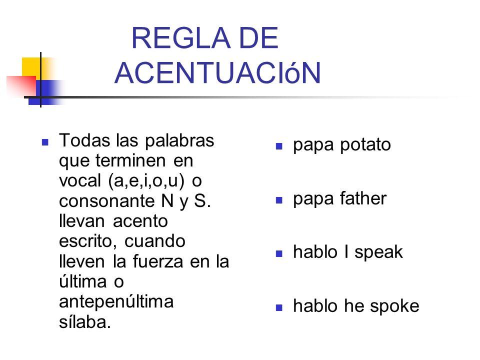 REGLA DE ACENTUACIóN
