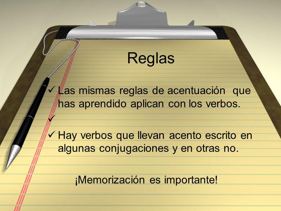 Reglas Las mismas reglas de acentuación que has aprendido aplican con los verbos.