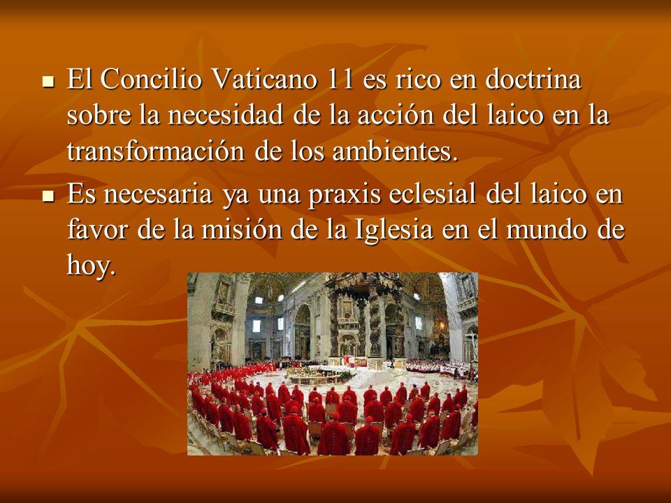 El Concilio Vaticano 11 es rico en doctrina sobre la necesidad de la acción del laico en la transformación de los ambientes.
