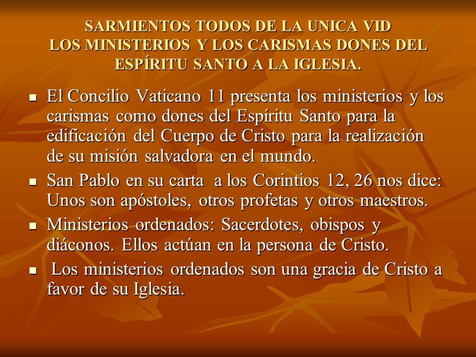 SARMIENTOS TODOS DE LA UNICA VID LOS MINISTERIOS Y LOS CARISMAS DONES DEL ESPÍRITU SANTO A LA IGLESIA.
