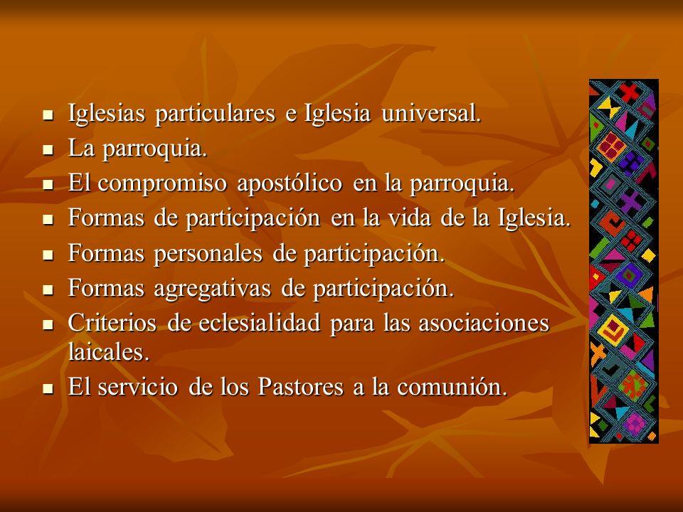 Iglesias particulares e Iglesia universal.