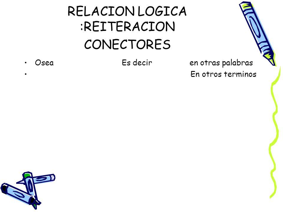 RELACION LOGICA :REITERACION CONECTORES