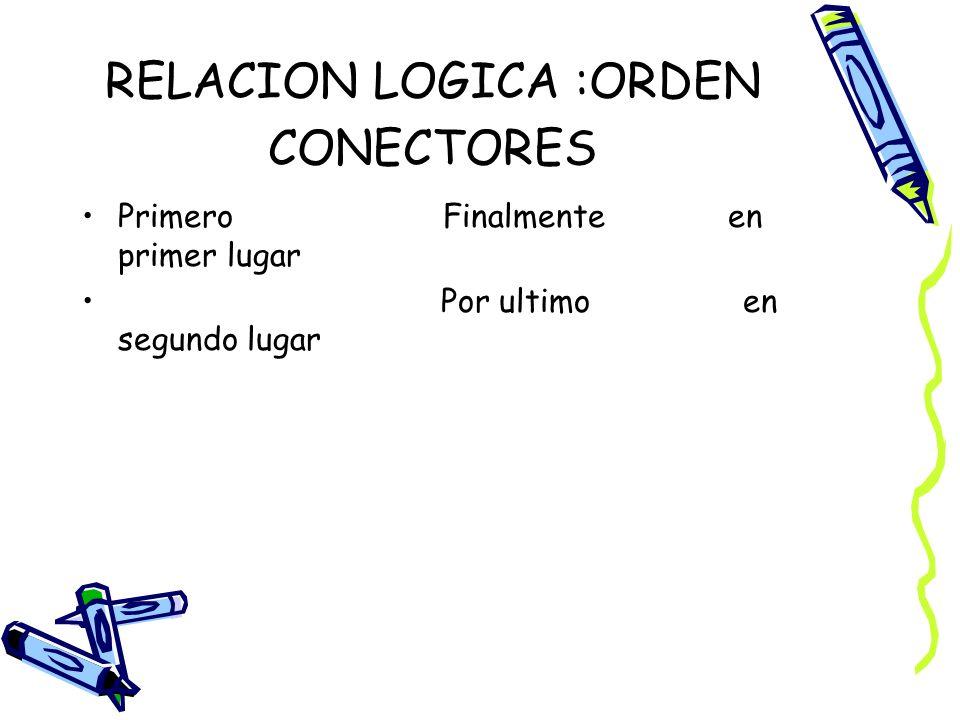 RELACION LOGICA :ORDEN CONECTORES