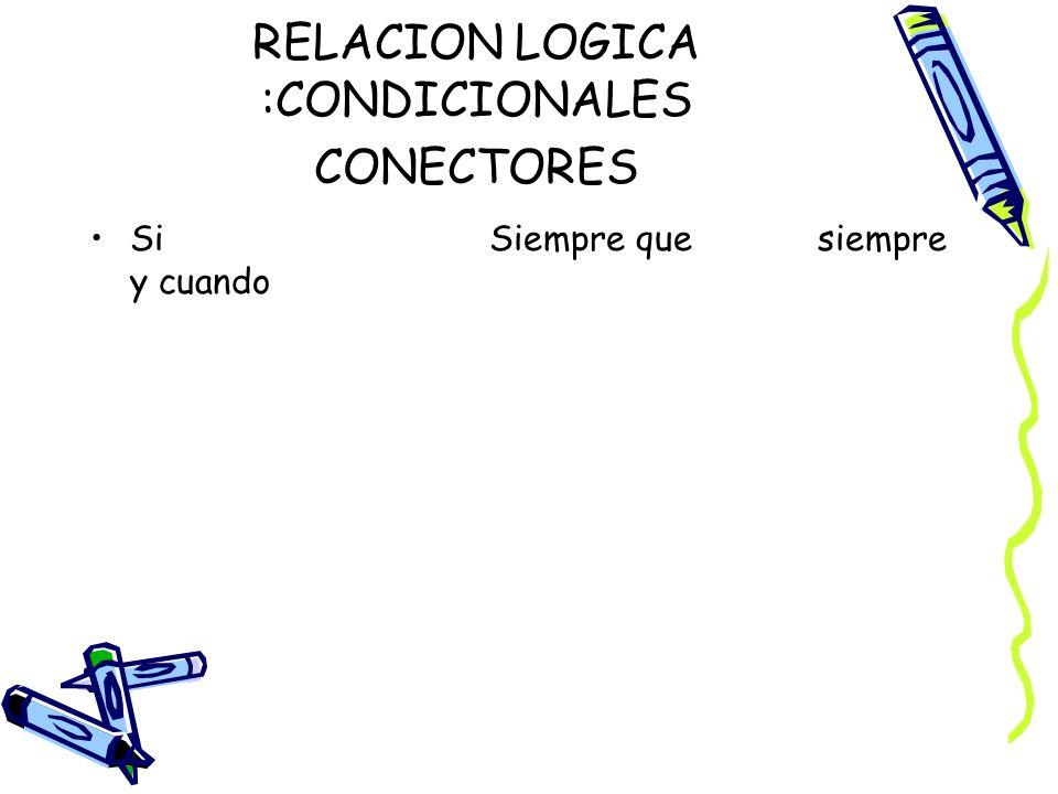 RELACION LOGICA :CONDICIONALES CONECTORES