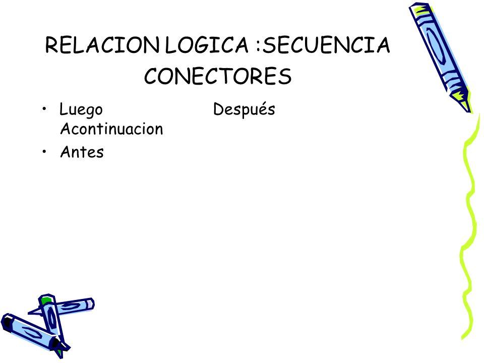 RELACION LOGICA :SECUENCIA CONECTORES