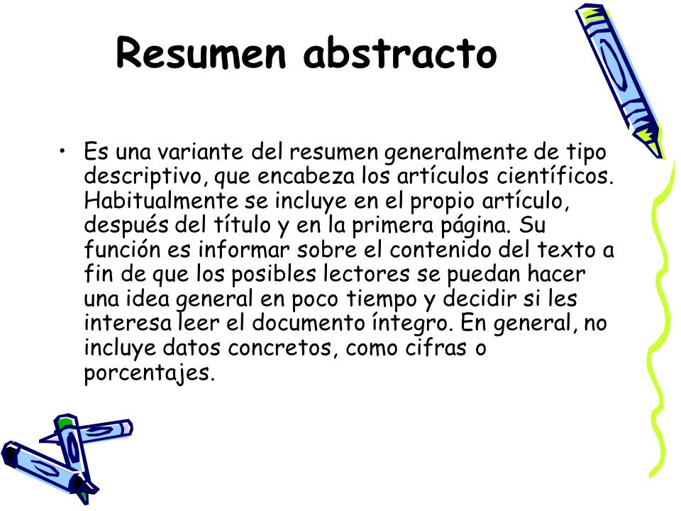 Resumen abstracto