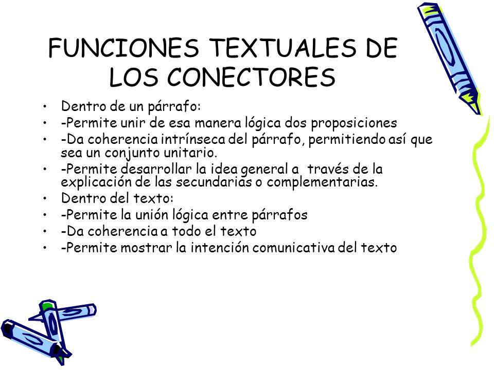 FUNCIONES TEXTUALES DE LOS CONECTORES